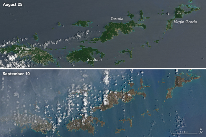 Wyspy Dziewicze przed i po przejściu huraganu