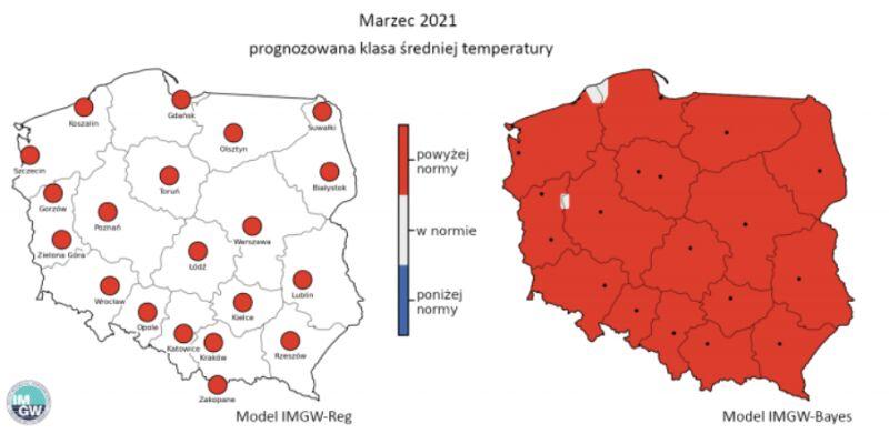 Prognozowana klasa średniej miesięcznej temperatury powietrza w marcu 2021 r. według modelu IMGW-Reg i IMGW-Bayes (IMGW)