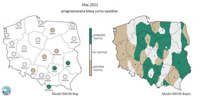 Prognozowana klasa miesięcznej sumy opadów w maju 2021 r. według modelu IMGW-Reg i IMGW-Bayes (IMGW)