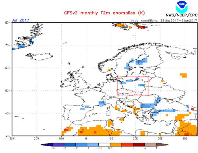 Prognoza odchylenia temperatury w lipcu (NOAA)