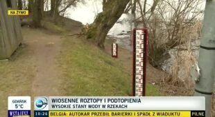 W okolicach Płocka zagrożenie powodziowe (TVN24)